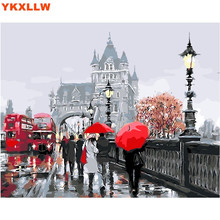 Red bus Rainy Russia Pictures By Numbers DIY Handpainted Wall Painting New Gift Coloring By Number Arts Painting For Home Decor(China)