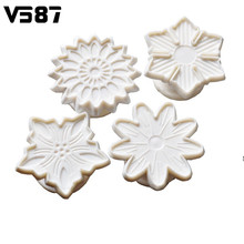 4PCS/Set 3D Flower Floral Cookies Fondant Mould Cutter Biscuits Plunger Pastry Dough Shaper Home Kitchen Baking Tools Bakeware(China)