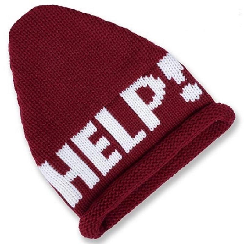 New Fashion Beanies Winter Thick Warm HELP Letters Embroidery Hats Knitted Crimping Cap Touca Bonnet Female Apex Hats CP058Îäåæäà è àêñåññóàðû<br><br><br>Aliexpress