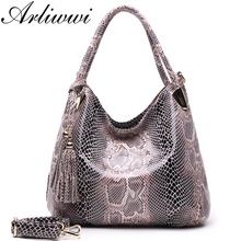Arliwwi Brand Individual Fashion Snake Designer Big Capacity Lady Bags New Tassel Embossed PU Leather Cross Body Handbags Women