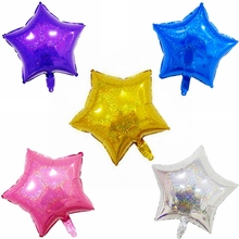 10pcs N Laser Star Flashing Bright Foil Balloons Glisten Shiny Five Stars High-end Birthday Party Wedding Decoration Kids Toy