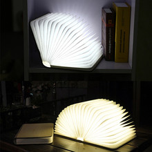 DHL/UPS Shipping Portable Folding LED Book Design Wooden Material Light Reading Lamp Bedroom Pendant Lamp USB Rechargeable Lamp