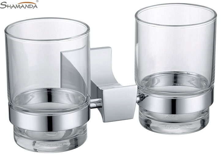Free shipping Solid Brass Chrome toothbrush holder,Double cup holder ,Glass Cup bathroom accessories-wholesale-82004<br>