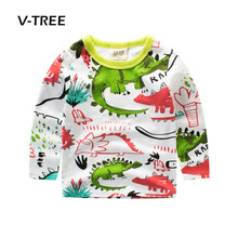 V-TREE New Baby Boys T Shirt Cotton Boys Clothing Dinosaur Style Fashion Kids Tees Tops Childrens Outwear 2-8 Year