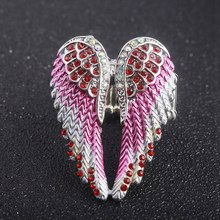 Angel Wings Stretch Ring Women Jewelry Gifts For Her Antique Gold Silver Colors Crystal Blue Pink And White(China)