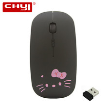 2.4Ghz Wireless Mouse Hello Kitty Silence Mouse 3D Optical Mouse Wireless Rechargeable Computer Mice Mause for Girl Gift