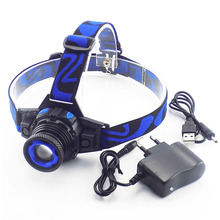 Powerful Q5 LED Frontal Led Headlamp Headlight Flashlight Rechargeable Linternas Lampe Torch Head lamp Build-In Battery Charger(China)