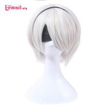 L-email wig Game Character 2B 9S Cosplay Wigs White 30cm/11.8inches Women Men Heat Resistant Synthetic Hair Perucas Cosplay Wig(China)