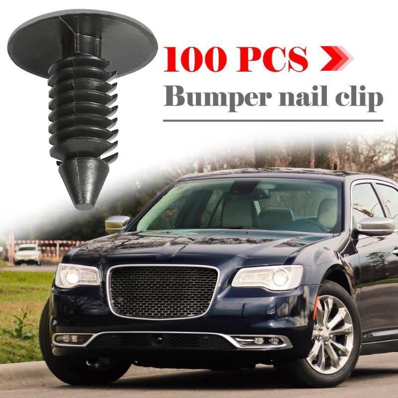 100pcs Car Hole Nylon Plastic Rivets Fastener Fender Bumper Push Pin Clips 8mm