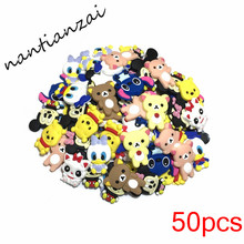 50PCS Q Mickey Minnie Cartoon Princess Lovely Soft Decoration Accessories Flat PVC DIY Gadgets Fit Bracelets,Shoe Charms(China)