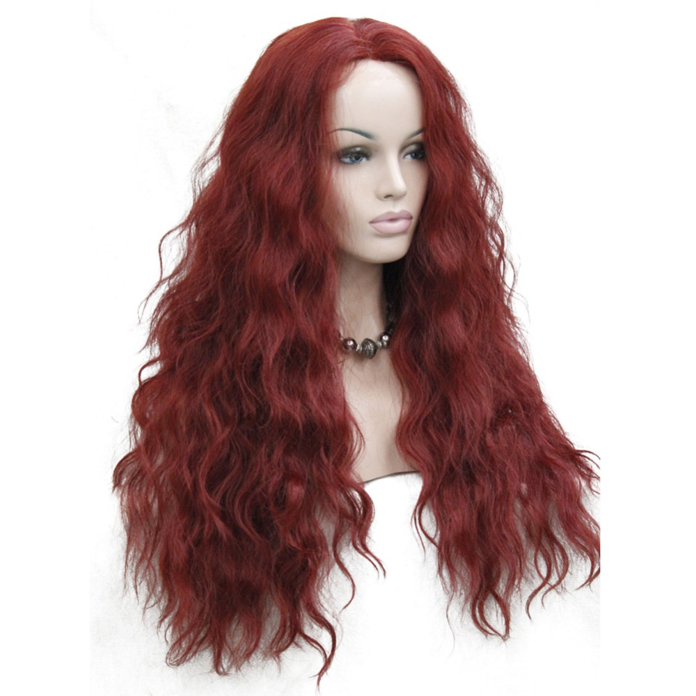 HHG-9211 350E High Quality Heat Resistant Dark Red Wavy Lace Front Long Wig (2)