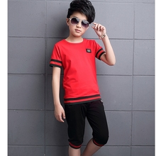 summer 4-15 years old child clothes boys cotton t shirt + short pants sets baby sets baby sets boy clothing sets