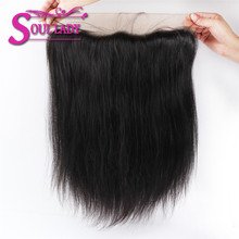 Soul Lady PrePlucked 13*4 Ear to Ear lace frontal Bleached Knots Brazilian Remy Straight Hair 100% Human Hair Natural Color