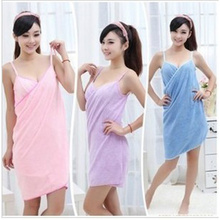 Home and travel use Microfiber Wearable Sexy Towel Bathrobe Fast Dry Washclothing Wrap Women Bath towels beach dress
