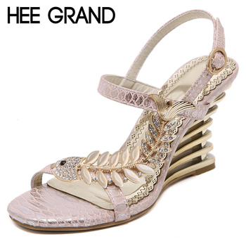HEE GRAND Crystal Gladiator Sandals 2017 New Bling Sexy High Heels Platform Wedges Sandals Casual Gold Shoes Woman XWZ3464