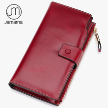 Jamarna 2017 Genuine Leather Women Wallet Card ID Holder Long Clutch Coin Purse Cell Phone Pocket Versatile Style Red Brand New(China)