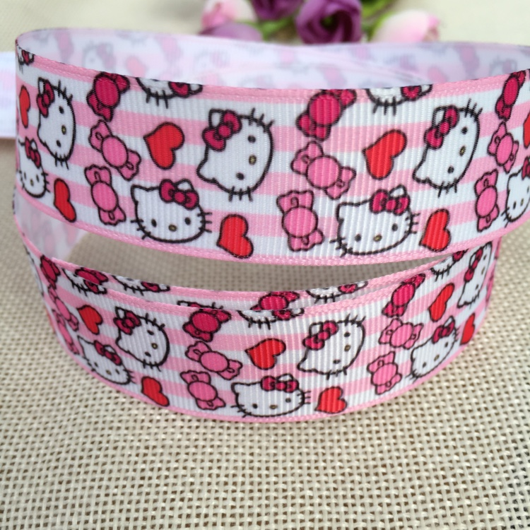 Лента для волос hello kitty 1 дюйм 25 мм 10 ярдов|10 yard|printed grosgrain ribbongrosgrain ribbon |