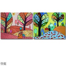 2017 New 2PCS Package Colorful Tree Scenery Painting Carton Tree Abstract Oil Painting Wall Pictures For Kid Living Room Bedroom