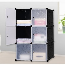 Lockers Wardrobes Storage-Cabinet Portable Simple Assembly Fold DIY 6 PVC Student Dormitory-Steel-Frame