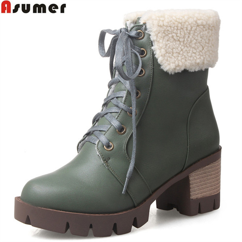 ASUMER 2017 hot sale new arrive women boots fashion lace up snow boots square heel simple comfortable ankle boots big size 33-43<br>