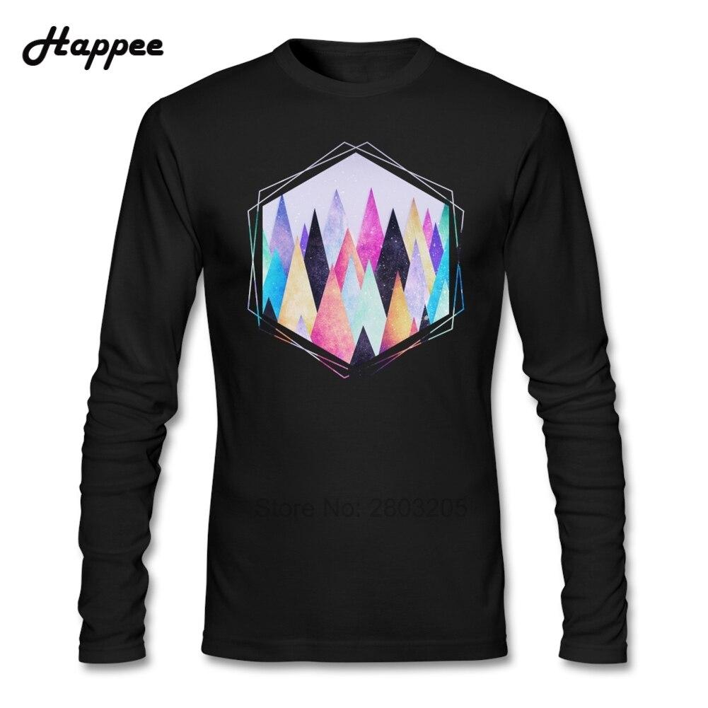 Design t shirt murah - Novelty Men T Shirt Hipster Triangles Abstract Mountains Clothes Shirts Men Long Sleeve 100 Cotton Cheap Sale T Shirt For Adult