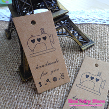 600pcs Sewing Machine design Hand Made Kraft Gift Tag Hang tag DIY Paper Party Cards