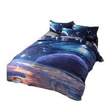 Galaxy Nebala 3PCS Bedding Set Full/Queen Size 3D Printed Outer Space Duvet Cove with 2 Pillow case