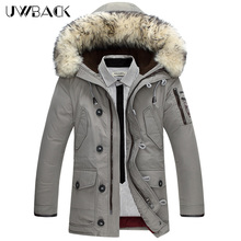 Uwback 100% Wool Fur Collar Hooded Long Men Down Jacket 2017 Duck Down Jacket Men Plus Size 4XL Thick Men Winter Coat CAA223