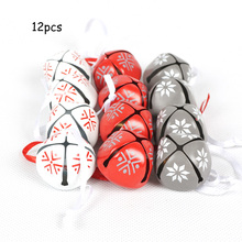 Christmas decoration for home 12 pcs red white grey bells Pendants Christmas tree decoration Diy accessories gift merry XMAS(China)