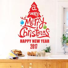 2017 best seller Merry Christmas Decoration Decal Window Stickers Home Decor Navidad Natal Weihnachten 17jul24(China)