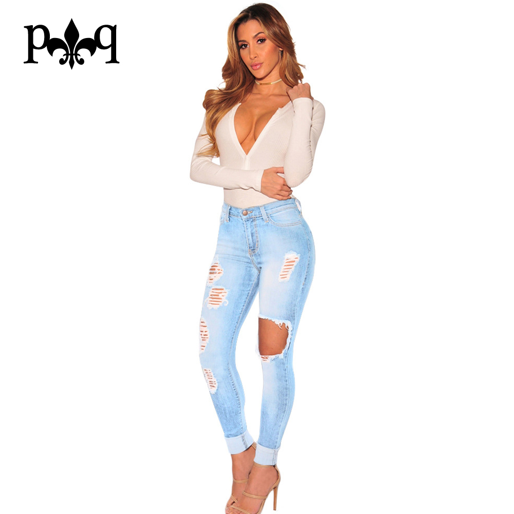 Sexy Ripped Jeans For Women High Waist Women Jeans Night Club Wear Slim Pencil Denim Pants Skinny Gradient Plus Size TrousersОдежда и ак�е��уары<br><br><br>Aliexpress