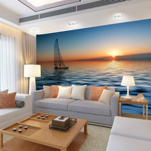 beibehang papel de parede manufacturers, accusing size custom TV sofa backdrop painting sunrise sea wallpaper 3d waterproof(China)