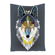 Wolf Tapestry Grey Decor Artistic Graphic Design Coyote Beast Animal Geometric Print, Bedroom Living Kids Girls Boys Room Dorm W