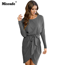 Missufe Batwing Sleeve Split Mini Wrap Dress With Belt 2017 Autumn Winter Women Clothing Slim Fashion Casual Party Dresses