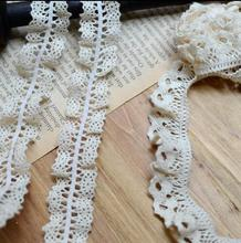 5 Meters High Qualtiy 2.2cm/2.1cm Width 2 Designs Knit Elastic Cotton Lace Fabric Crochet Stretch Lace Trim Ribbon(China)