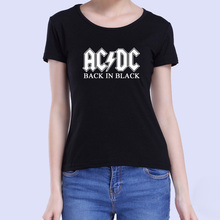 ACDC Printed T Shirt Women Novelty Streetwear Cotton T-shirt Girls Rock Music Brand Clothing Heavy Metal Slim Tops Tees Summer(China)