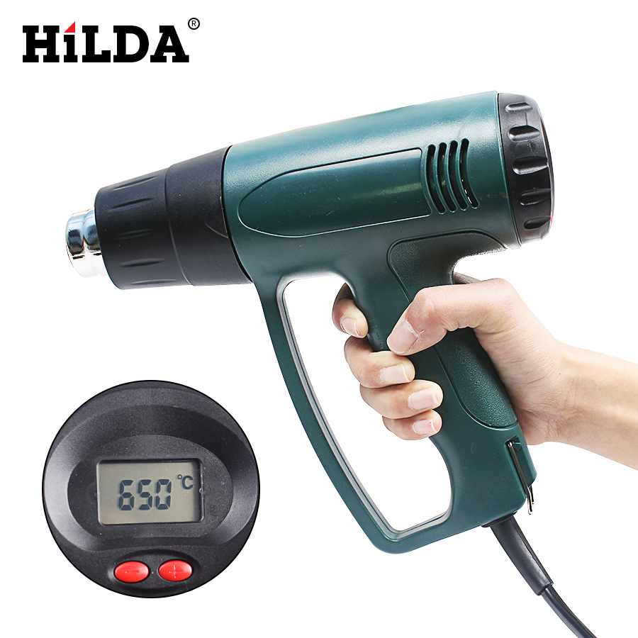 2000W 220V EU Plug Industrial Electric Hot Air Gun Thermoregulator LCD Display Heat Guns Shrink Wrapping Thermal Heater Nozzle<br>