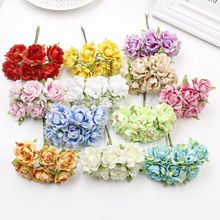 6pcs cheap Artificial flowers roses silk flower DIY wreath material bride wrist flower Headwear Wedding flower decoration(China)
