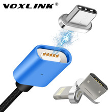 VOXLINK USB Type-C LED Magnetic Cable Magnetic Data Charger Phone Cable For Samsung Galaxy S8 S8 Plus Android Magnetic Adapter(China)