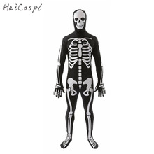 Skeleton Cosplay Costume Halloween  Men Adult Scary Skull Jumpsuit  Day of  the dead Suit  Carnival Party Fancy