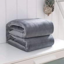 Solid warm blanket Spring/Autumn summer Soft Coral Fleece Blankets on bed for adults kids Rectangle queen king gray Blankets(China)