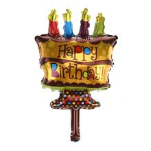 Party Suppies Child Toys Gifts Celebration Cartoon Balloon Happy Birthday Foil Mylar Balloons Cake Candle Design(China)