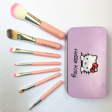 Hello kitty iron box Pink Portable Cosmetic Makeup Brushes kit 7Pcs/Sets For Eye Foundation Beginner Makeup Brushes beauty Tool