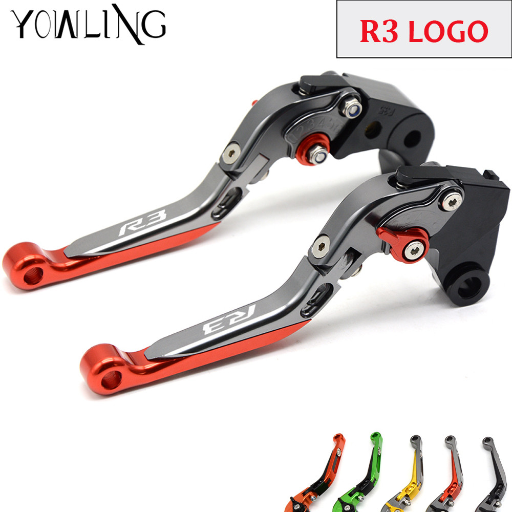 LOGO YZF-R3 For YAMAHA YZF R3 YZFR3 YZF-R3 2015 2016 2017 Motorcycle Accessories CNN Folding Extendable Brake Clutch Levers<br>
