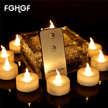 Top Selling Mini Led Tea Light Electric Flameless Led Candles With Remote Control 12PCS/BOX Wedding Party Chrismas(China)