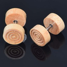 Safe Wood Body Piercing Environmental Fake Ear Tunner Plug Earring Big Cap Cheater Ear Stetcher Plugs Stud Ear Piercing