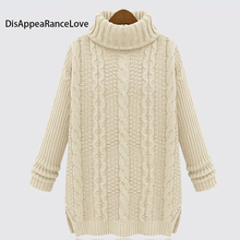 2017 loose Women'S Vintage Slim Medium-Long Turtleneck Twisted Knitted Basic Sweater Female Woman Sweaters christmas sweater
