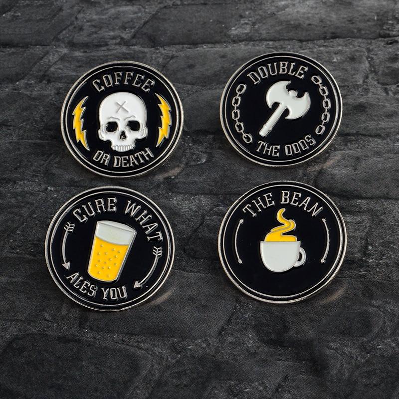 CURE-CHE-ALES-YOU-IL-FAGIOLO-CAFF-O-MORTE-Ax-Skull-Coffee-Drink-Spilla-Pins