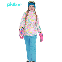 2016 kids winter ski sets(ski jackets+pant) Fashion Sport Girl's outdoor warm ski clothing waterproof windproof ski snow suit