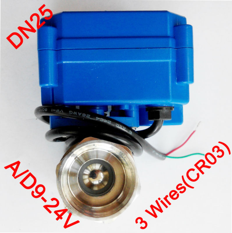 1 Miniature Electric valve 3 wires (CR03), AC/DC9-24V motorized valve SS304, DN25 electric actuated valve for solar heater<br><br>Aliexpress